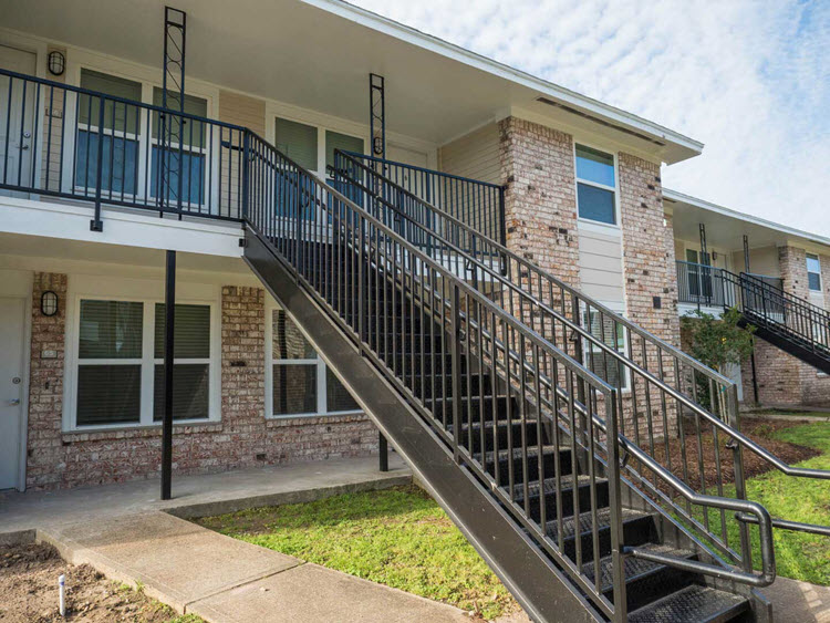 Metal Exterior Apartment Stair Installation Fire Escape Stairs Houston Aber Fence